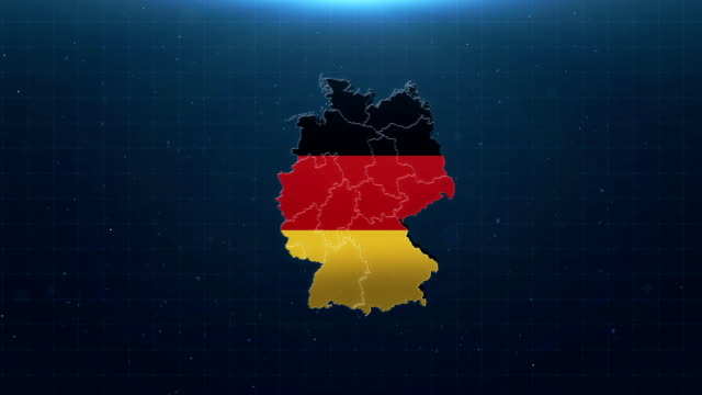 4k germany map with national flag - german flag stock videos & royalty-free footage