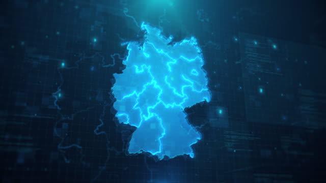 deutschland karte mit regionen vor blauem animiertem hintergrund 4k uhd - deutschland stock-videos und b-roll-filmmaterial