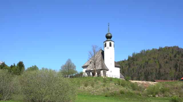 germany modern church on a hill zooms in - onion dome stock videos and b-roll footage