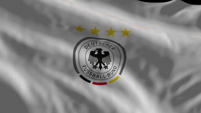 germany national soccer team flag waving computer generated animation for editorial use seamlessly looped and close up - loopable moving image stock videos & royalty-free footage