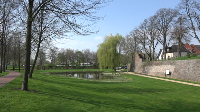 Germany Rees park with pond and wall
