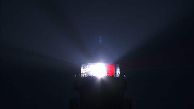 CU, Germany, Schleswig-Holstein, Westerhever lighthouse beacon at night