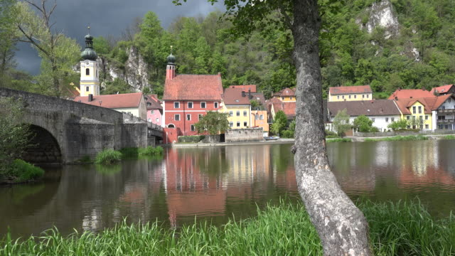germany view of kallmunz and bridge on river inn bird sound - inn river stock videos and b-roll footage