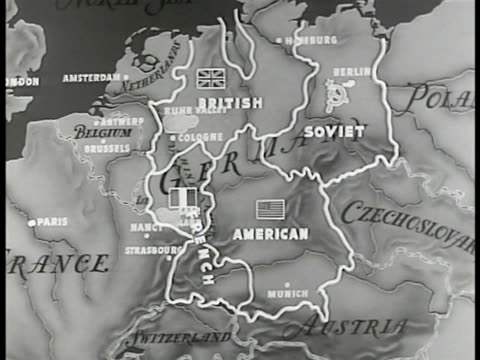 stockvideo's en b-roll-footage met map germany w/ occupation break down 'british french american soviet' post wwii - 1946
