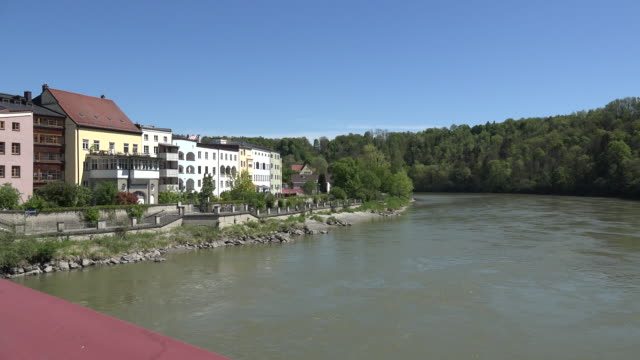 germany wasserburg am inn zoom on river - inn river stock videos and b-roll footage