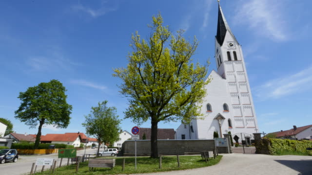 germany white church in village - steeple stock videos & royalty-free footage