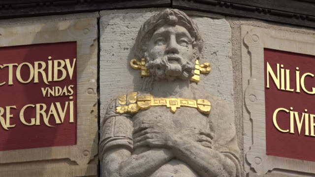 germany wismar man bas-relief statue detail on covered waterworks - relief carving stock videos & royalty-free footage