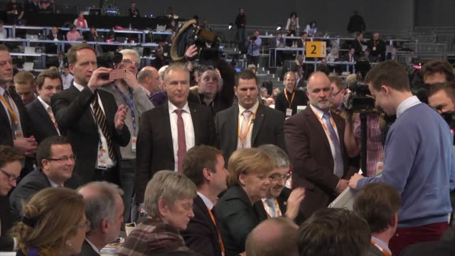 germany's chancellor and leader of the christian democratic union angela merkel waits the results of the 27th congress of the cdu with delegates of... - chancellor stock videos & royalty-free footage