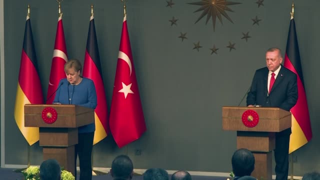 germany's chancellor angela merkel and turkish president recep tayyip erdogan call for the fragile truce in libya to be turned into a lasting... - recep tayyip erdoğan stock videos & royalty-free footage