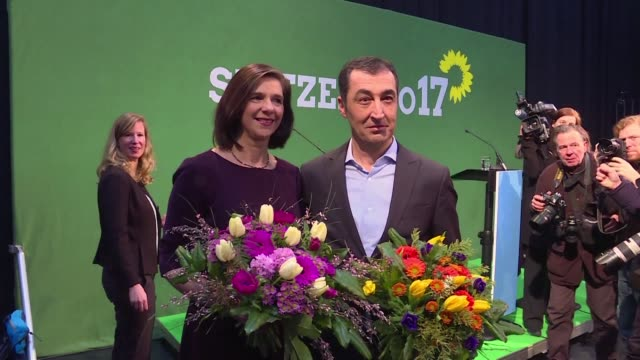 germany's green party chooses their candidates for september elections cem oezdemir the current party chief and katrin goering eckard - green party stock videos and b-roll footage