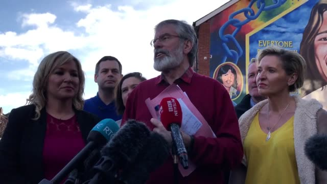 """gerry adams and michelle o'neill speaking in west belfast sinn fein leader gerry adams has said the """"perpetual unionist majority"""" at stormont has... - ulster province stock videos & royalty-free footage"""