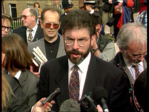 gerry adams house of commons meeting cancelled itn london westminster gerry adams towards thru press lms side adams ditto rl ms side more ditto pan... - sinn fein stock videos & royalty-free footage