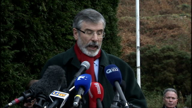 gerry adams press conference talking about building a new ireland a better ireland and a fair and just ireland sot - gerry adams stock videos and b-roll footage