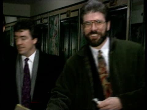 gerry adams visit new york ms adams chatting woman and shaking others in hotel reception track cms john hume mp speech sot we must re examine our... - john hume stock videos & royalty-free footage