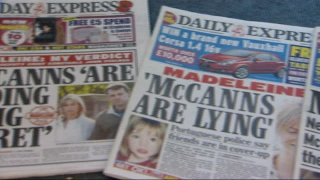gerry mccann and max mosley call for tightening of reporting standards newspaper headlines on mccann family in wake of disappearance of madeleine... - madeleine mccann video stock e b–roll