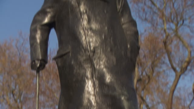 a 'get well soon boris' message attached to the winston churchill statue in parliament square after the prime minister was moved to intensive care... - crisis stock videos & royalty-free footage