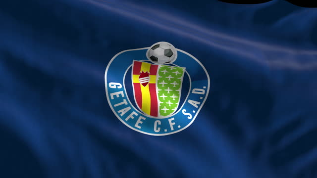 getafe spanish soccer team flag waving computer generated animation for editorial use seamlessly looped and close up - loopable moving image stock videos & royalty-free footage