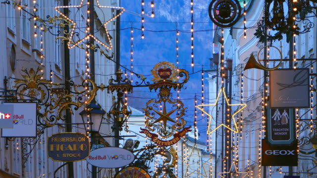 Getreidegasse at christmas time, Salzburg, Austria