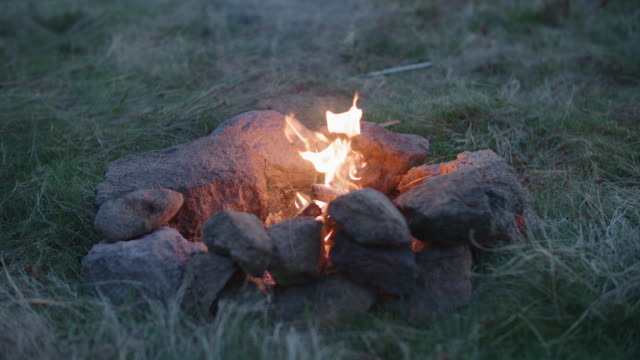 getting away from it all. young woman tourist camping and making a campfire in the nature. adventure outdoors in the wilderness area. wanderlust, freedom and meditation. end of the covid-19 outbreak. - wilderness area stock videos & royalty-free footage