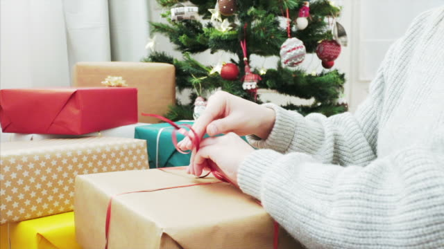getting ready for christmas season! - wrapped stock videos & royalty-free footage