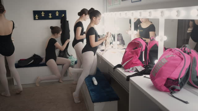 getting ready for dance rehearsal - leotard stock videos & royalty-free footage