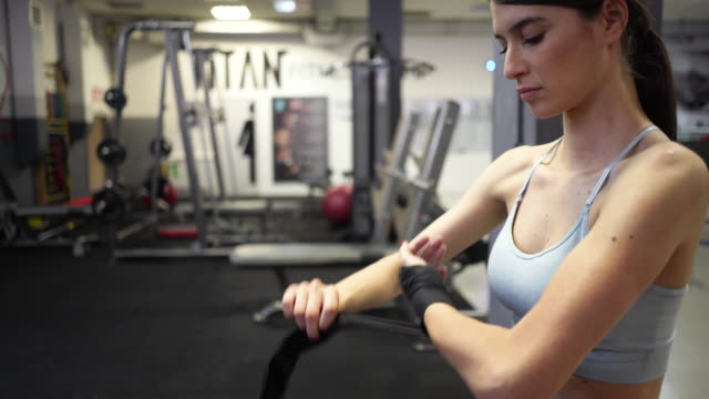 getting ready for the training - strongwoman stock videos & royalty-free footage