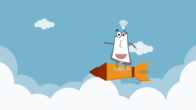Getting Started Icon Rocket Launcher in the Cloud with Cartoon phone with wifi signal