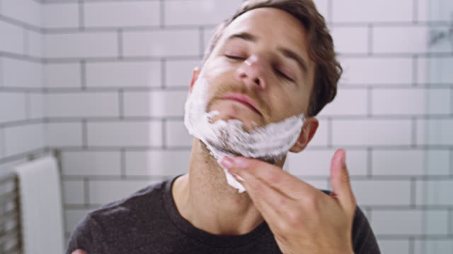 getting that clean shave - shaving stock videos and b-roll footage