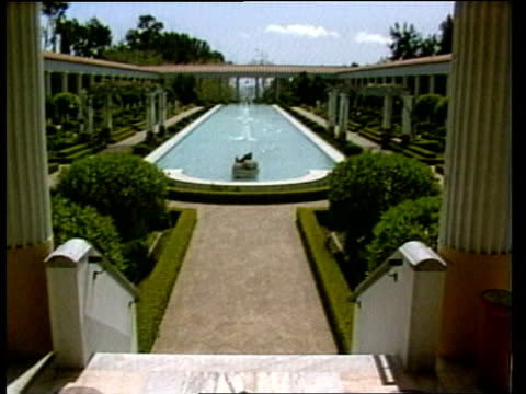 malibu jpaul getty museum gvs exterior jpaul getty museum replica of lucius calpernias piso villa in naples phillips outside getty museum sof the... - decorative art stock videos and b-roll footage