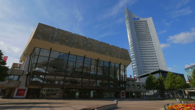 gewandhaus concert hall and city highrise, home of the mdr, central german broadcasting station, on augustusplatz square, leipzig, saxony germany - concert hall stock videos and b-roll footage