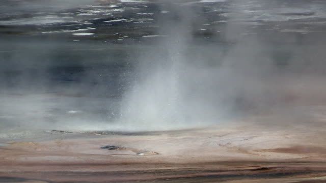 stockvideo's en b-roll-footage met geyser at norris geyser basin, autumn in yellowstone national park - thermaalwater