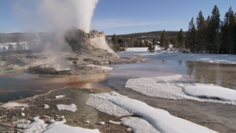 ws tu geyser erupting in snow covered landscape / yellowstone national park, wyoming, united states   - geyser stock videos & royalty-free footage