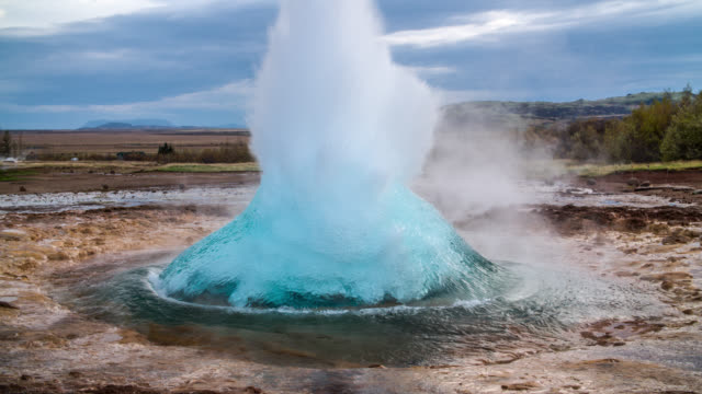 geyser eruption slow motion - strokkur iceland - hot spring stock videos & royalty-free footage