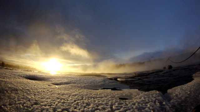 Geyser in Iceland exploding onto camera