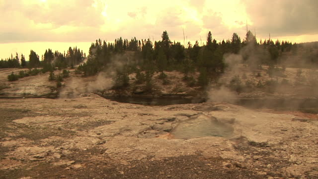 stockvideo's en b-roll-footage met ms, geysers by firehole river at sunset, upper geyser basin, yellowstone national park, wyoming, usa - cross processen