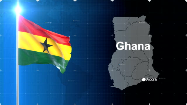 ghanaian flag with map - ghana stock videos & royalty-free footage