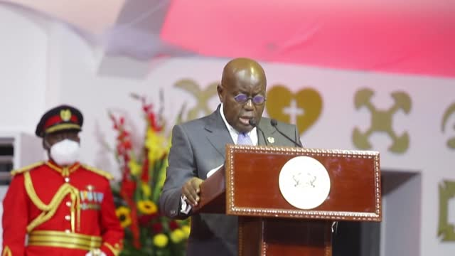 ghanaian president nana akufo-addo, who narrowly won re-election in the december 7 vote for the legislature and head of state, gives a speech after... - ghana stock videos & royalty-free footage