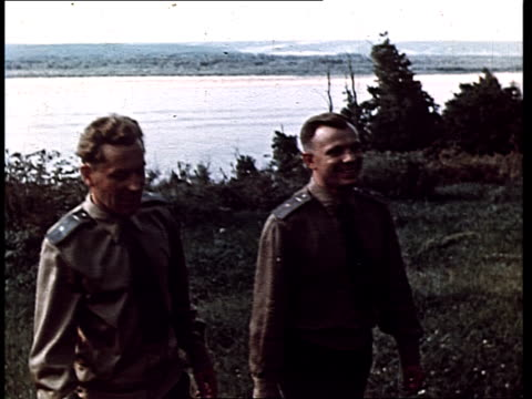 Gherman Titov with Yuri Gagarin walking together