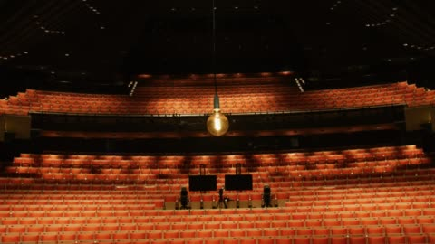 """ghost light"""" hangs at the stage of the joan sutherland theatre at the sydney opera house on may 03, 2020 in sydney, australia. the sydney opera house... - theatre building stock videos & royalty-free footage"""