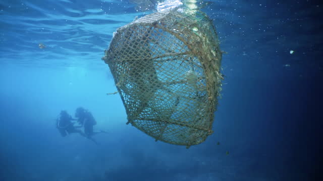 ghost net water pollution environmental ecocide asia pacific - andaman sea stock videos & royalty-free footage