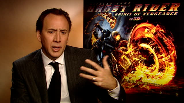 'Ghost Rider Spirit of Vengeance' film Nicolas Cage interview ENGLAND London INT Nicolas Cage interview SOT on doing sequel to last film / wanted to...
