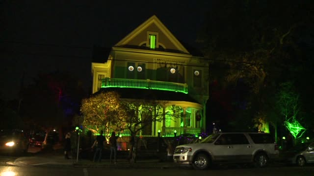 WGNO Ghost Shoots Lightning Skeletons Waltz and Eyes Move In HighTech Halloween House Display in New Orleans' Garden District at the home of David...