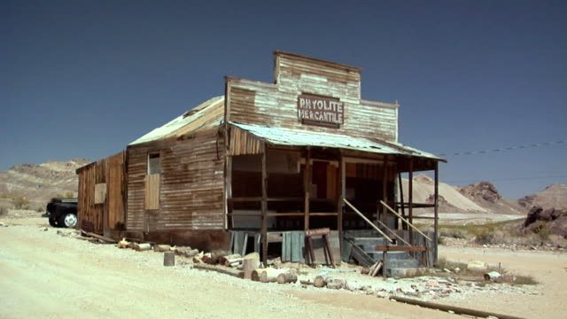 WS PAN Ghost Town of deserted Goldmine Town of Rhyolite, Nevada, USA