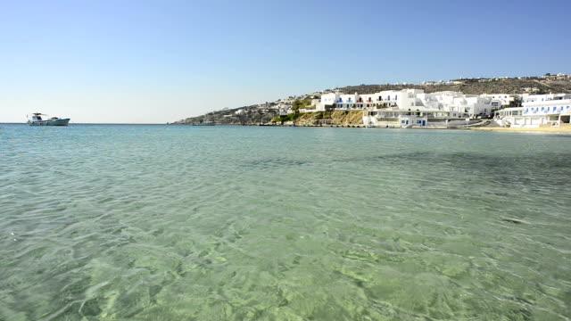 gialos beach mykonos - mykonos stock videos and b-roll footage