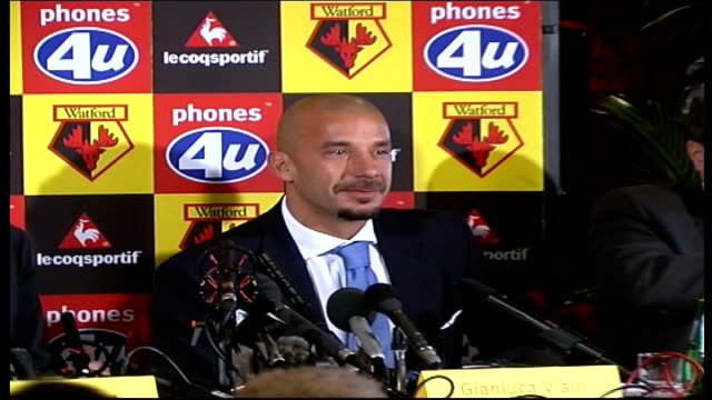 Gianluca Vialli new Watford manager ***CONTAINS Hertfordshire Watford Gianluca Vialli shaking hands with chairman others at pkf / Vialli speaking at...