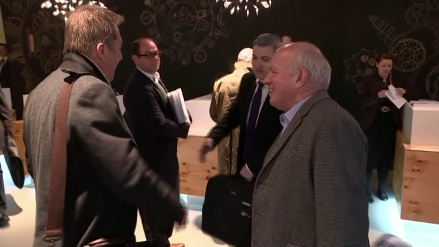 gianni infantino elected as new fifa president greg dyke through hotel foyer and shaking hands with reporter/ greg dyke interview sot what matters is... - greg dyke stock videos & royalty-free footage