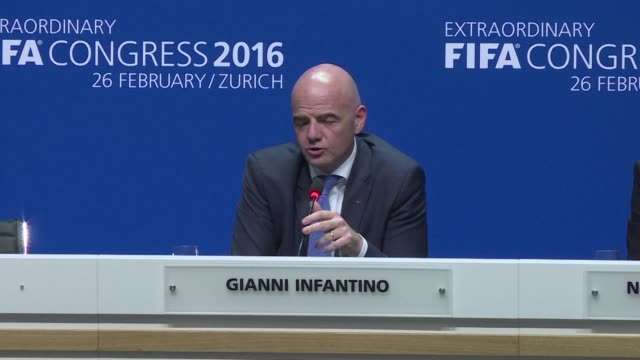 gianni infantino on friday said he was very much thinking of his former boss michel platini whose ban from football forced him out of the race for... - gianni infantino stock videos and b-roll footage