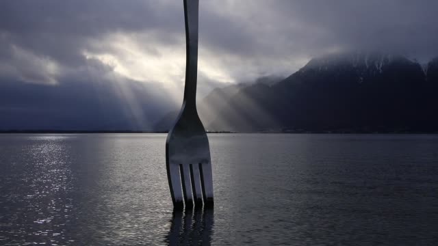 giant fork designed by switzerland s artist jean-pierre zaugg to commemorate nestle s alimentarium food museum 10th anniversary on december 21, 2019... - eating utensil stock videos & royalty-free footage