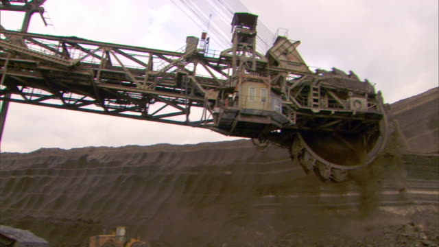 giant machine mining coal, greece - quarry stock videos & royalty-free footage