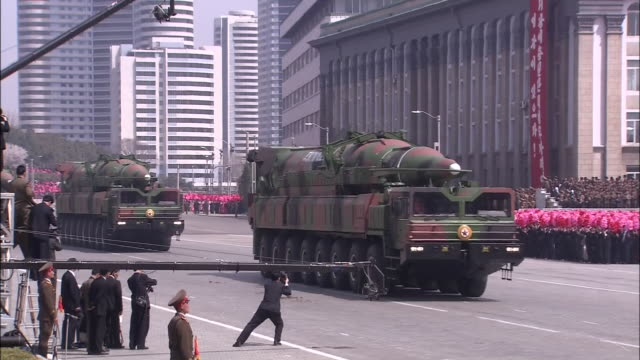 giant missiles that are considered to be kn08 intercontinental ballistic missiles carried out and displayed to the public for the first time during... - military parade stock videos and b-roll footage